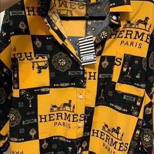 Fashion Print Hermès Button Down
